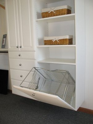 Tilt-Out Hamper in Cabinet