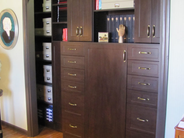 Chocolate Pear Wood Office Closet Specialized Drawers