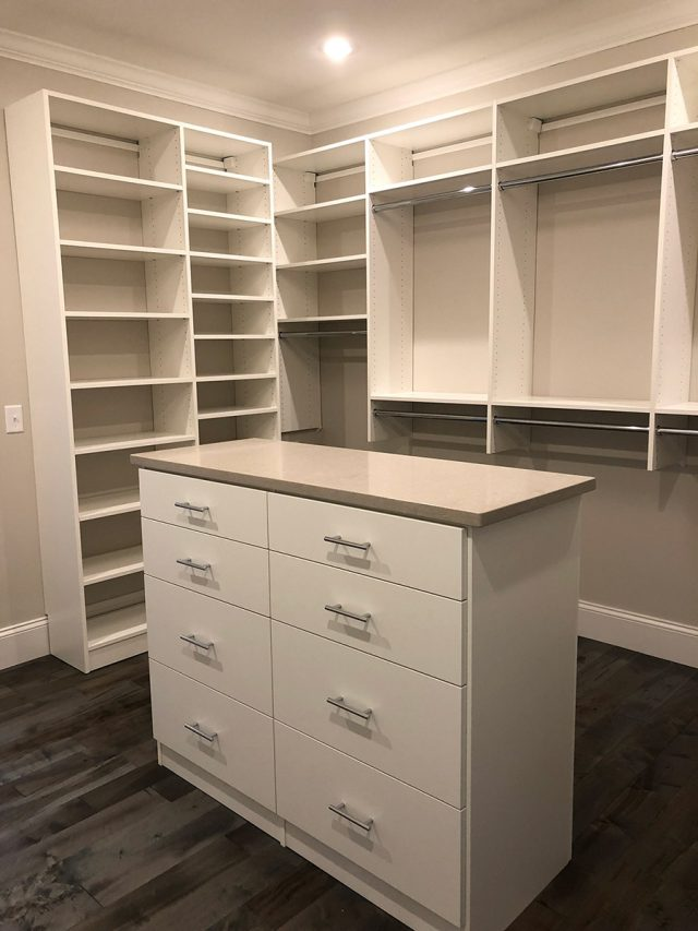 White Walk In Island With Fabricated Counter Top