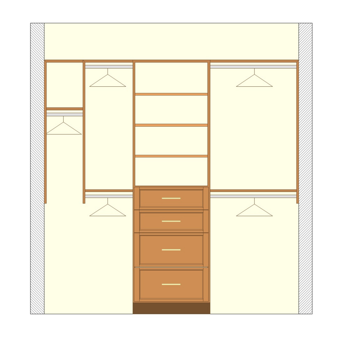 An example of a deluxe reach-in closet configuration