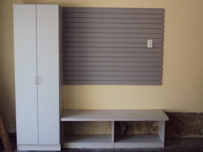 Garage Wardrobe and Bench - Grey wardrobe for extra coat storage and boot storage below the bench. Slat wall for specialized hooks/brackets for additional storage.
