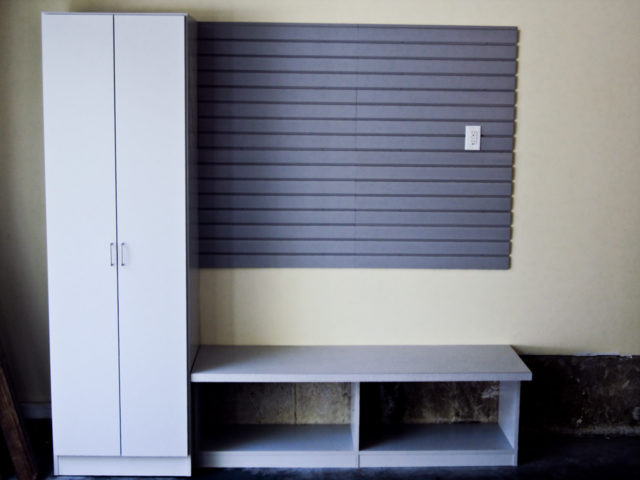 Grey Locker , Bench And Slat Wall