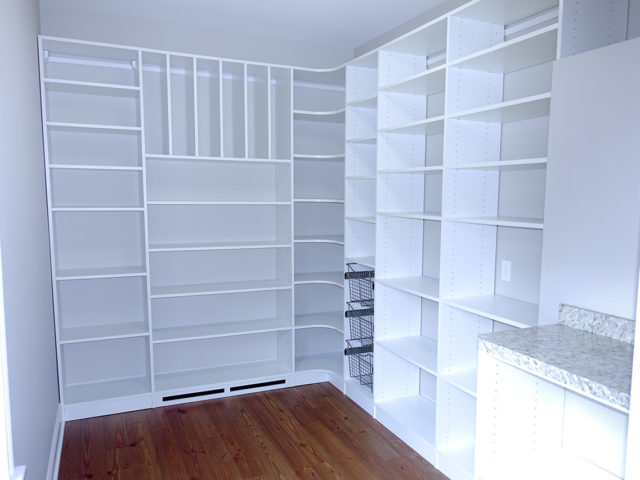 Huge White Pantry , Baskets , Dividers , Granite Work Surface
