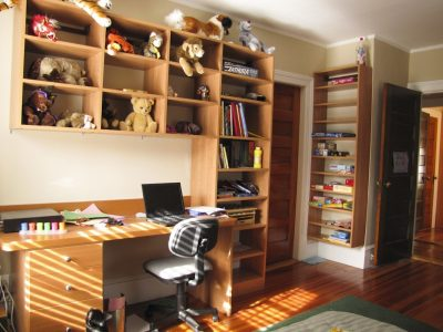 Kid's Room Update - Built-in shelving and bookcases, plus a custom-built desk made a great study space.