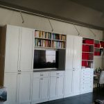 Wall System in White Fun white with desk and media center