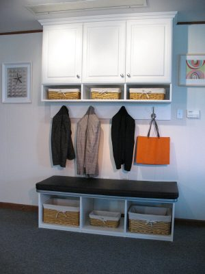 Mudroom unit with bench, shelving, cubbies and crown molding