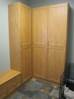 Mudroom Cabinets - This maple cabinets and bench with drawers are an attractive addition to any mudroom or entryway