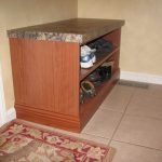 Mudroom shoe storage shelves with mica top