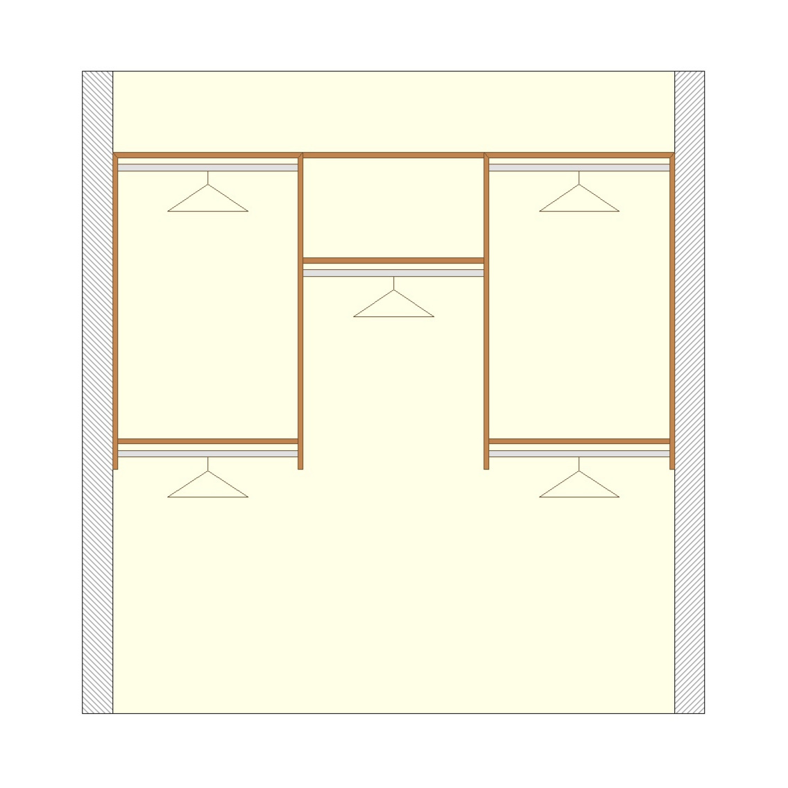 Basic reach-in closet configuration