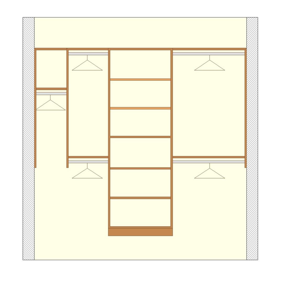 Premium reach-in closet configuration