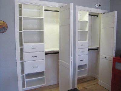Reach-in Horizontal Shoe Shelving Double Reach-in Closets