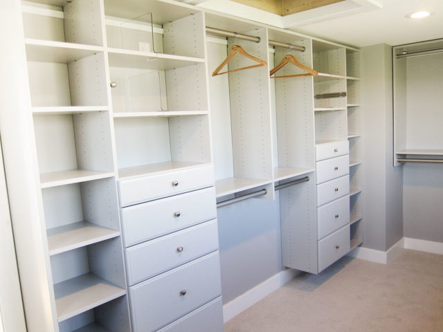 Soft Gray Master Walk-In Classic Drawers