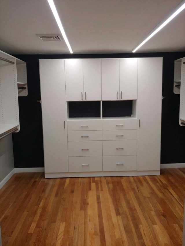 White Cabinetry With Flat Fronts