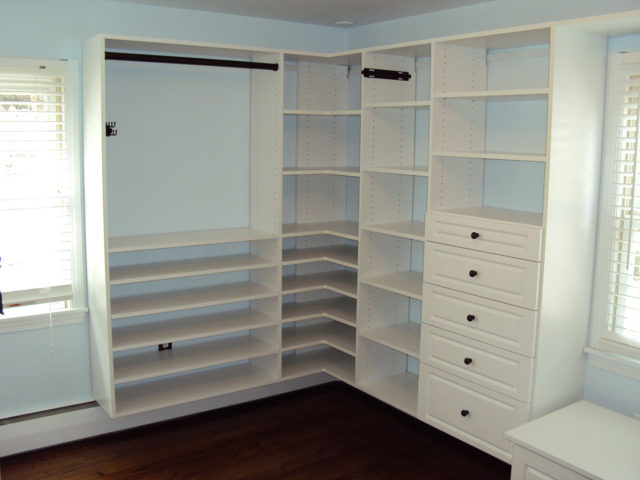 White With Shaker Drawers And Sorner Shelving