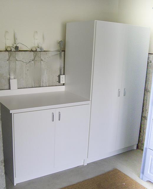 White Workbench And Storage Area